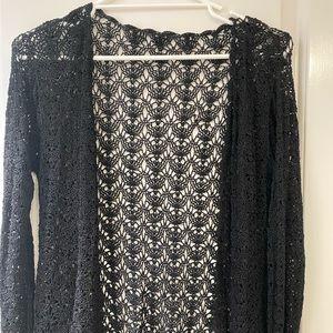 BOHO CROCHET Knit Cardi Black